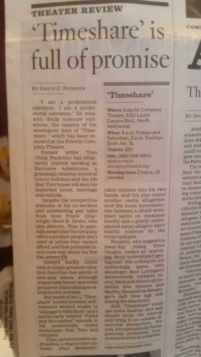 LA times paper review of Timeshare